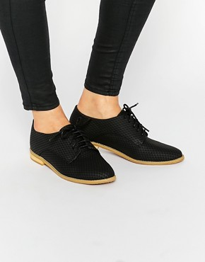 Lost Ink Beat Black Lace Up Flat Shoes
