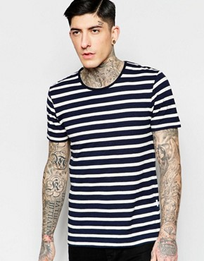 Minimum T-Shirt With Breton Stripe In Navy