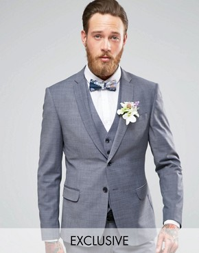 Number Eight Savile Row Exclusive Melange Suit Jacket with Stretch in Skinny Fit