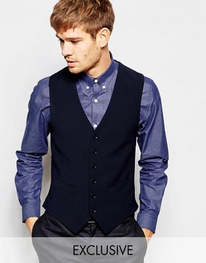 Number Eight Savile Row Exclusive Travel Waistcoat with Stretch in Skinny Fit