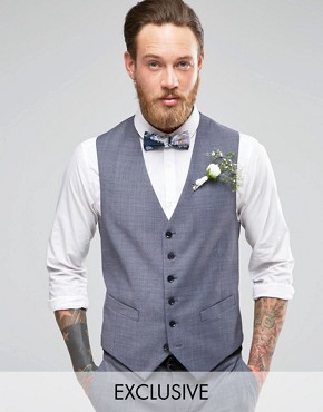 Number Eight Savile Row Exclusive Melange 5 Button Waistcoat with Stretch in Skinny Fit