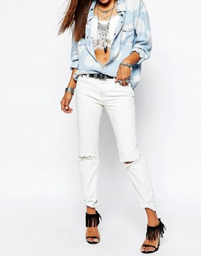 One Teaspoon Awesome Baggies Distressed Jeans in Off White