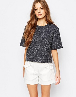 Paul and Joe Sister Textured Cat Jacquard Shell Top