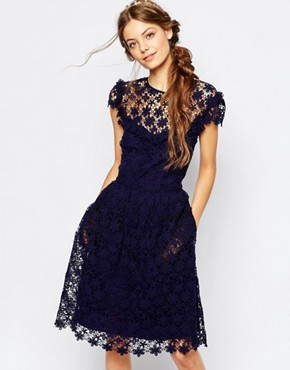 Paul and Joe Sister Floral Lace Midi Dress in Navy
