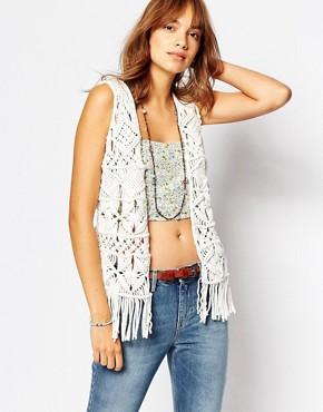 Pepe Jeans Fringe Crochet Knit Waistcoat