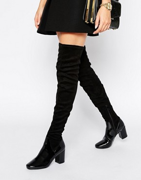 Public Desire Patent Sock Thigh High Boots
