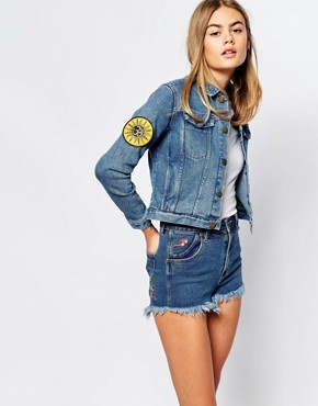Rollas Fitted Denim Jacket With Patches And Embroidery