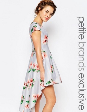 True Decadence Petite Mini Prom Dress in Allover Floral With High Low Hem