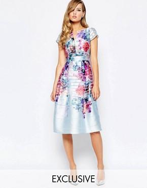 True Violet Full Pleated Skater Dress In Mesh Stripe Vivid Floral