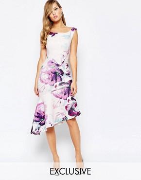 True Violet Off Shoulder Pencil Dress With Asymmetric Ruffle Hem