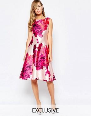 True Violet Full Sateen Skater Dress In Bold Floral Print