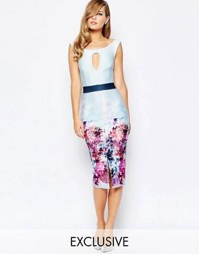 True Violet Off Shoulder Pencil Dress In Ombre Floral Print