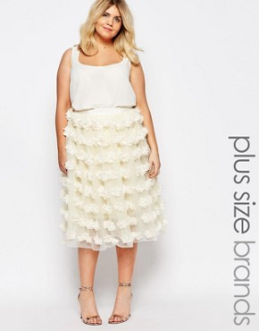 Truly You 3D Applique Tulle Prom Skirt