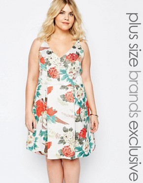 Truly You Bird Print Jacquard Prom Dress