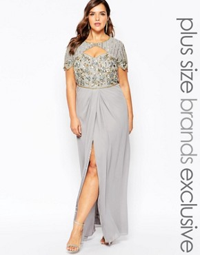 Virgos Lounge Plus Helena Embellished Sweetheart Top Maxi Dress With Thigh Split