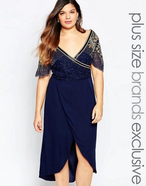 Virgos Lounge Plus Julisa Embellished Bodice Midi Dress With Scalloped Cap Sleeves