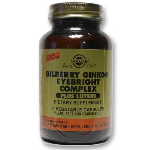 Solgar Bilberry Ginko Eyebright Complex + Lutein