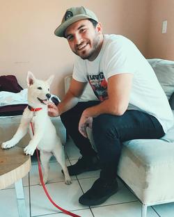 Zane with a dog