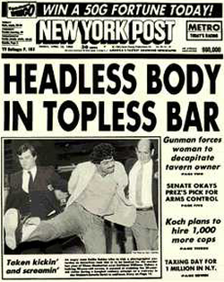 One of the paper's most famous headlines, from the April 15, 1983 edition