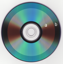 "Scan of a DVD 4.5 capacity disc (""a"" is the used section while ""b"" is the unused section)"