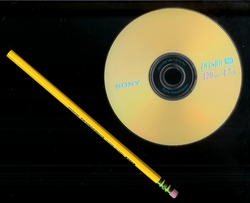 Size comparison: a 12 cm                                 DVD+RW                                and a 19 cm                                 pencil