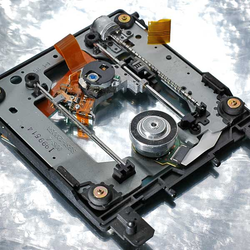 Internal mechanism of a DVD-ROM Drive. See text for details.