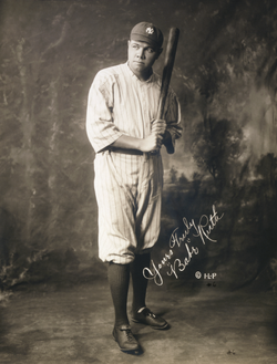 With his hitting prowess,                                 Babe Ruth                                ushered in an offensive-oriented era of baseball and helped lead the Yankees to 4 World Series titles