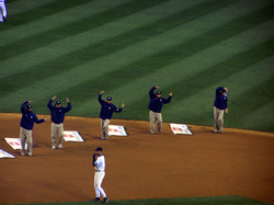 "The Grounds-crew at Yankee Stadium dancing to ""                                 Y.M.C.A.                                """