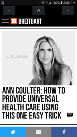 "A one ""easy"" trick advertisement on the                               Breitbart.com                              site featuring                               Ann Coulter                              ."