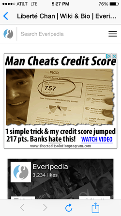 Not all one weird trick ads are sexual in nature. This ad is from                               Everipedia                              .com's own site.