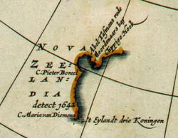 "Detail from a 1657 map showing the western coastline of ""Nova Zeelandia"""
