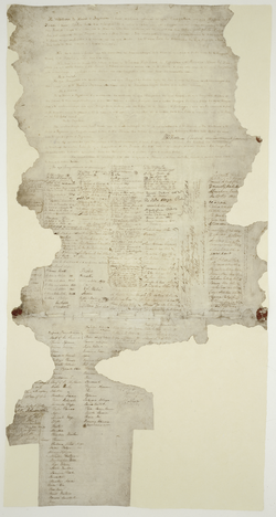 The Waitangi sheet from the Treaty of Waitangi.