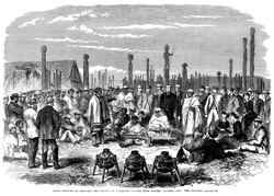 A meeting of European and Māori inhabitants of Hawke's Bay Province. Engraving, 1863.