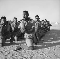 Māori Battalion                                                 haka                                in Egypt, 1941.