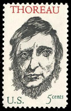 1967 U.S. postage stamp honoring Thoreau, designed by                                 Leonard Baskin