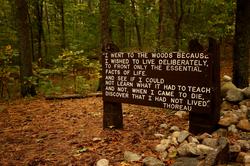 Thoreau's famous quotation, near his cabin site at Walden Pond