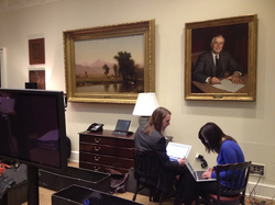 Google staff preparing in the  Roosevelt Room  of the White House.