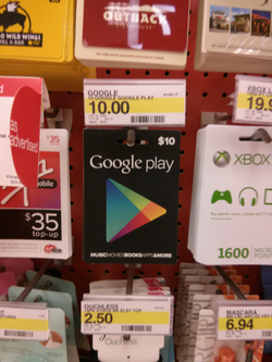 Gift cards in a                                 Target                                store in the U.S.