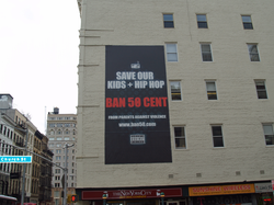 An anti-                                 50 Cent                                billboard in                                 Tribeca                                , New York