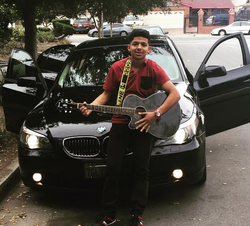 Photo of Pedro front of a BMW 5 Series Instagram