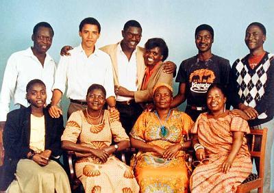 Front row (left to right): Auma Obama (Barack's half-sister), Kezia Obama (Barack's stepmother), Sarah Hussein Onyango Obama (third wife of Barack's paternal grandfather), Zeituni Onyango (Barack's aunt)Back row (left to right): Sayid Obama (Barack's uncle), Barack Obama, Abongo [Roy] Obama (Barack's half-brother), unidentified woman, Bernard Obama (Barack's half-brother), Abo Obama (Barack's half-brother).