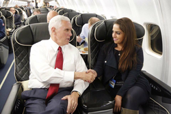 Adelle Nazarian shaking hands with Mike Pence​ the day before the 2016 U.S. Presidential election​ (November 7, 2016)