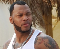 "Flo Rida on the set of the music video for ""                                 Sugar                                """