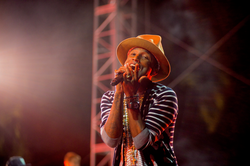 Pharrell Williams performing at the 2014                                 Coachella Valley Music and Arts Festival                                .