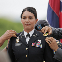 Rep. Gabbard at the ceremony of her promotion to Major 12 October 2015