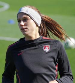 Alex Morgan with the United States women's national team in Frisco, Texas in February 2012.