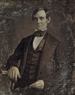 Lincoln in his late 30s as a member of the                                 U.S. House of Representatives                                . Photo taken by one of Lincoln's law students around 1846.