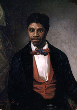 A portrait of                                 Dred Scott                                . Lincoln denounced the Supreme Court decision in                                 Dred Scott v. Sandford                                as part of a conspiracy to extend slavery.