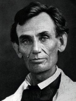 Lincoln in 1858, the year of                                 his debates                                with                                 Stephen Douglas                                over slavery.