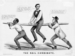 """""""The Rail Candidate""""—Lincoln's 1860 candidacy is depicted as held up by the slavery issue—a slave on the left and party organization on the right."""